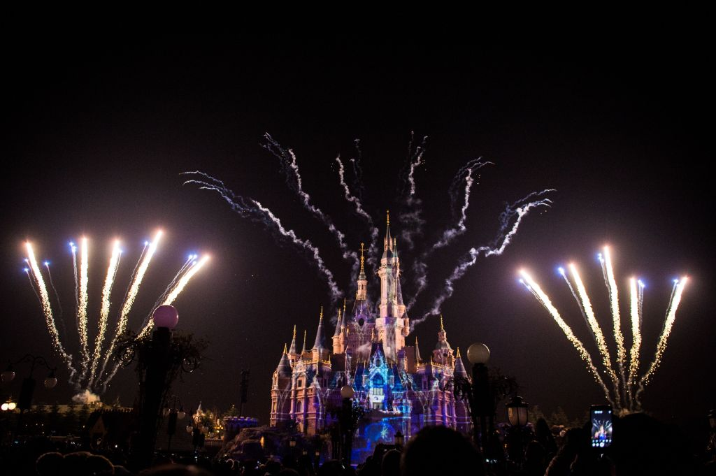 Fireworks exploding at Disneyland in China