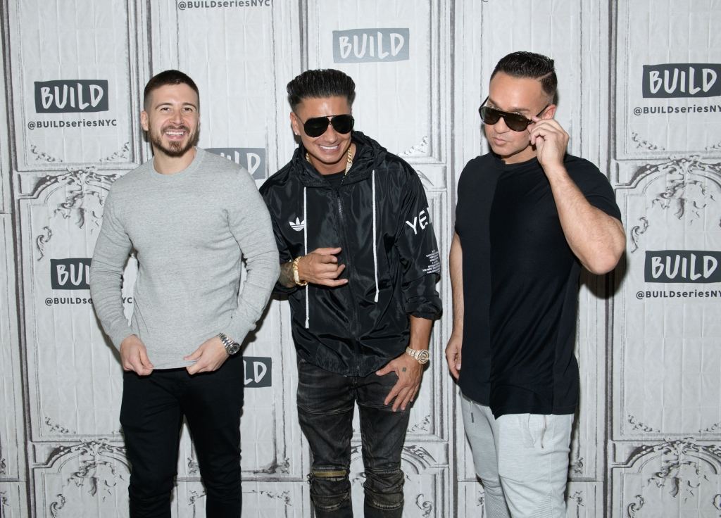 Vinny Guadagnino, Pauly D, and The Situation wearing sunglasses at an event