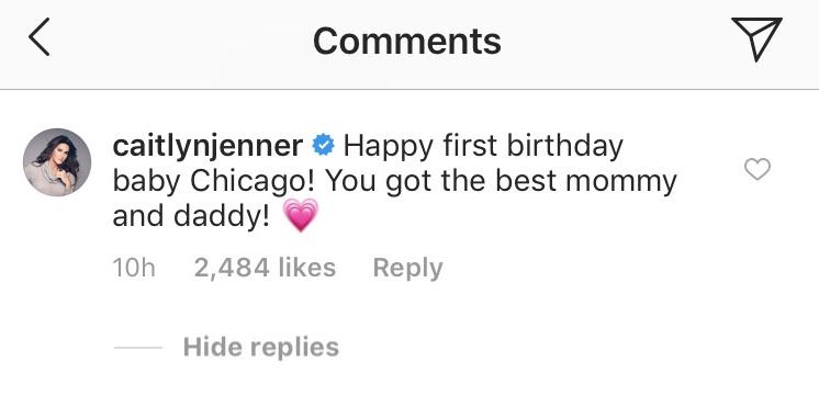 Caitlyn Jenner comments on Kim Kardashian's instagram