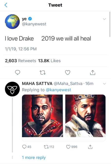Kanye West tweeting about Drake