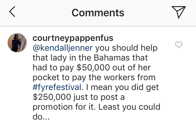 Kendall Jenner Fyre comments