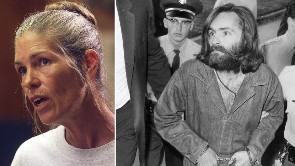 Picture of Leslie Van Houten at 2002 Parole Hearing and Picture of Charles Manson at Trial