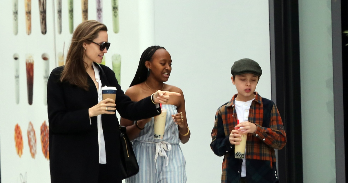 Angelina Jolie Takes Daughter Zahara and Son Knox to the Mall