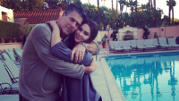 McKayla Maroney with her dad by a pool