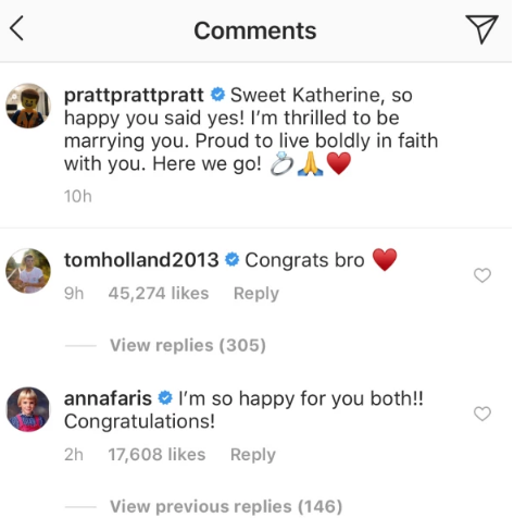 Anna Faris commenting on Instagram