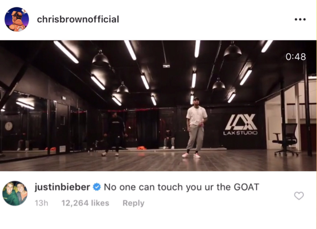 Justin Bieber comments on Chris Brown