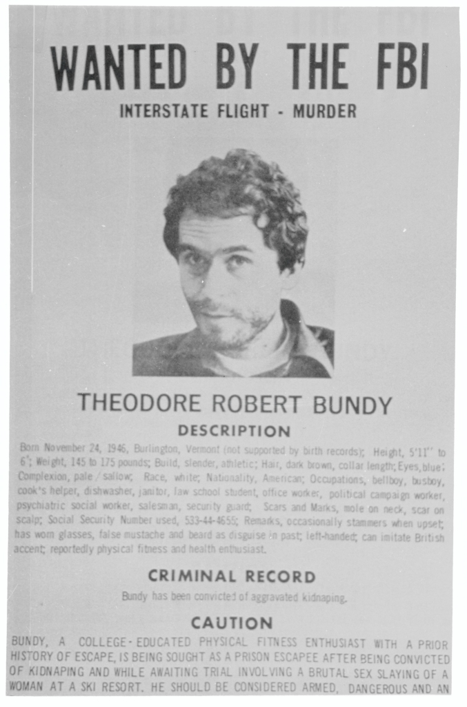 Ted Bundy Wanted Sign