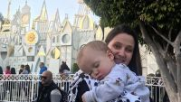 Tori Roloff Holds Sleeping Jackson At Disneyland