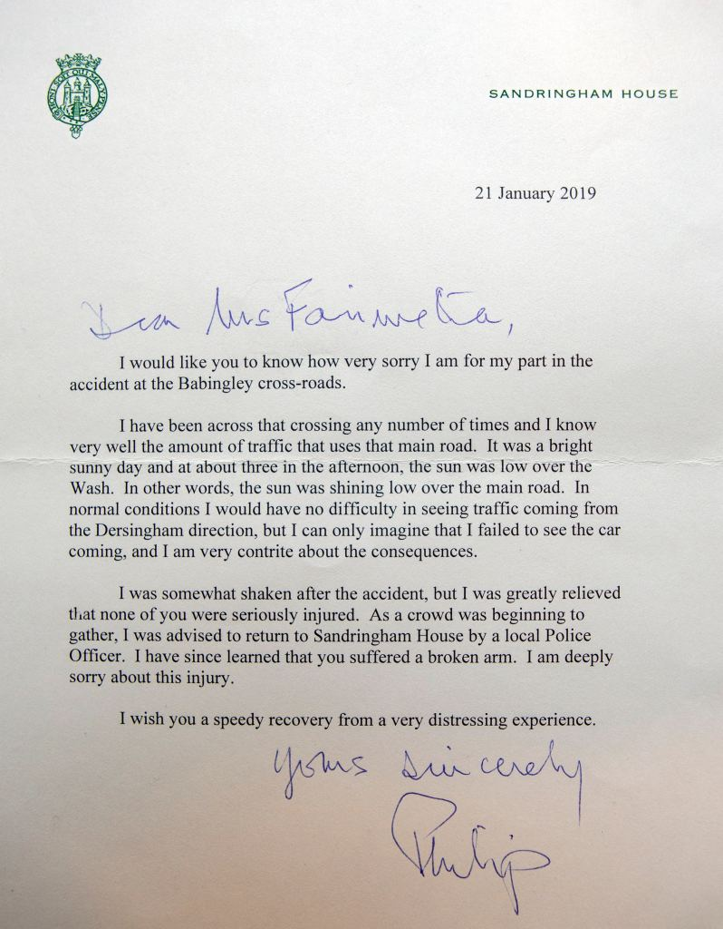 prince philip apology letter