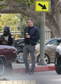Ben Affleck Awkwardly Drinks Coffee While Getting a Parking Ticket