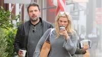 Ben Affleck and Lindsay Shookus walking and drinking coffee