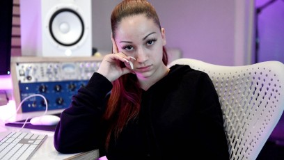 Bhad Bhabie Sits On Chair In Recording Studio