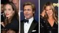 A split image of Angelina Jolie, Brad Pitt and Jennifer Aniston