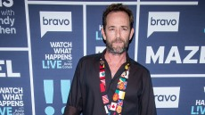 Luke Perry wearing a cool outfit at Watch What Happens Live
