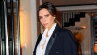 Victoria Beckham wearing a suit in London