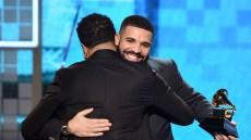 Drake hugging at the Grammy Awards
