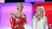 Katy Perry wearing red with Dolly Parton