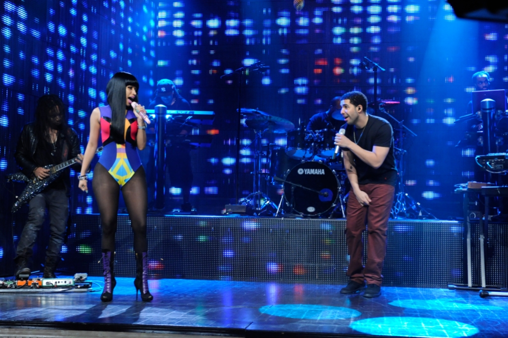 Drake and Nicki Minaj performing together