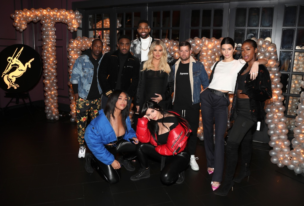 Tristan Thompson Khloe Kardashian Jordyn Woods Kylie Jenner at Tristan's birthday party