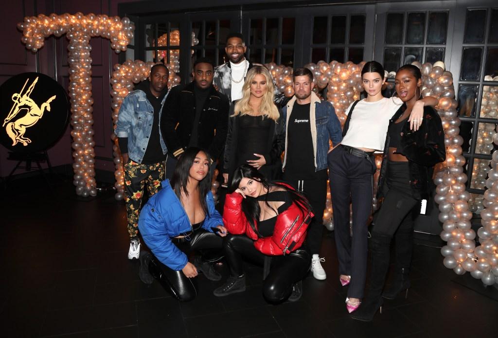 Tristan Thompson Khloe Kardashian Jordyn Woods Kylie Jenner at Tristan's birthday party