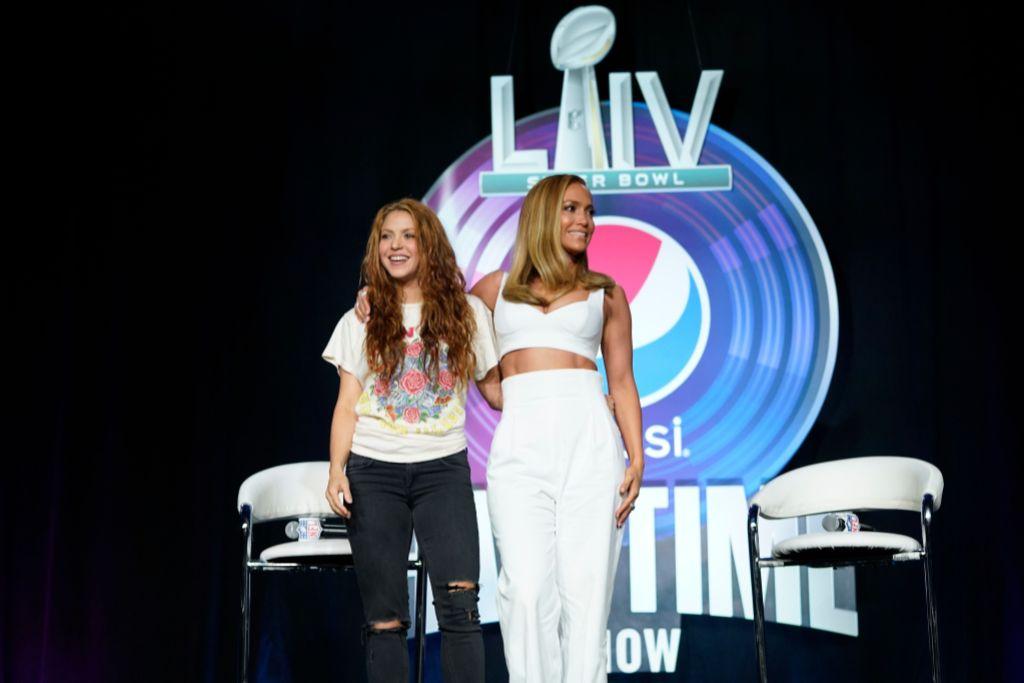 Shakira and Jennifer Lopez at Super Bowl Halftime Press Conference
