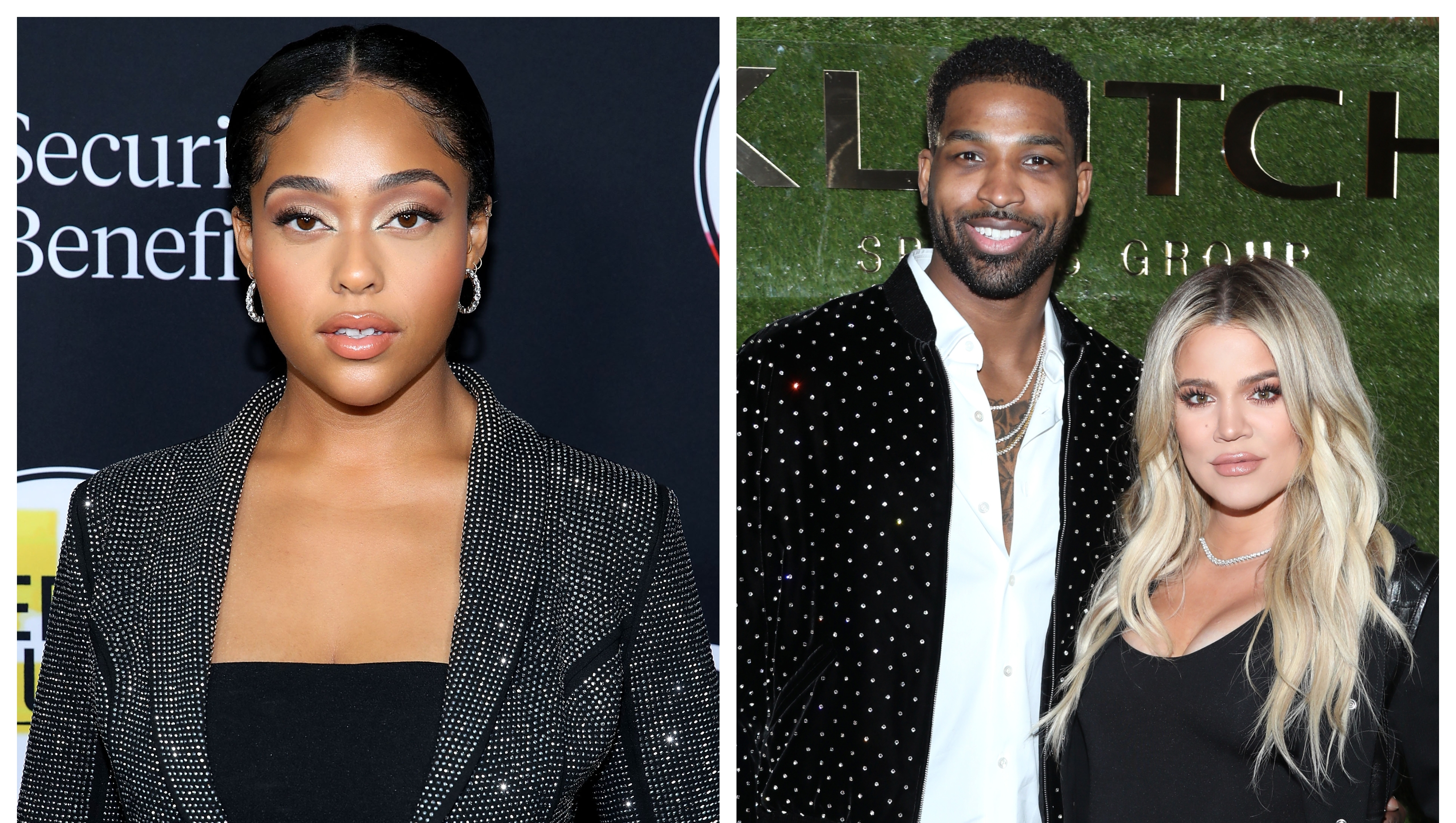 A split image of Jordyn Woods and Khloe Kardashian posing with Tristan Thompson