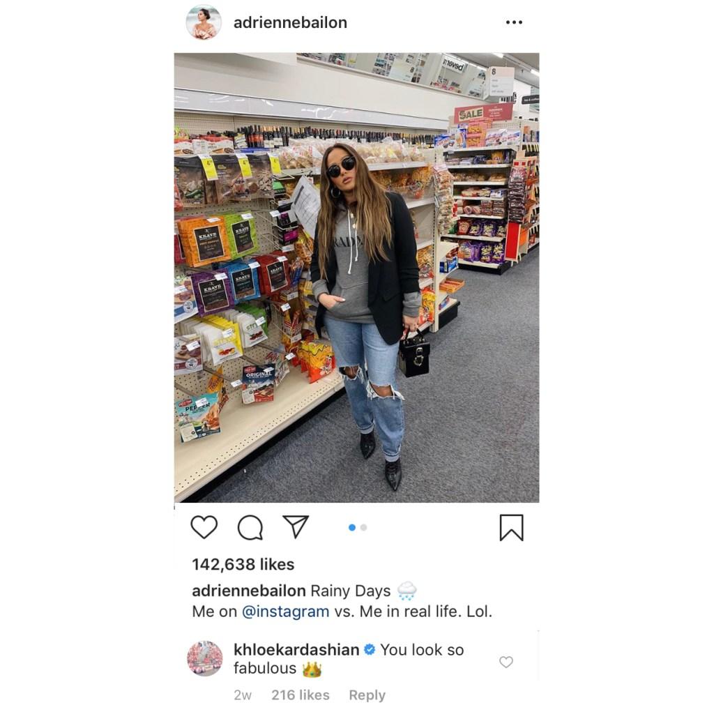 Khloe Kardashian Comments On Adrienne Bailon's Photo