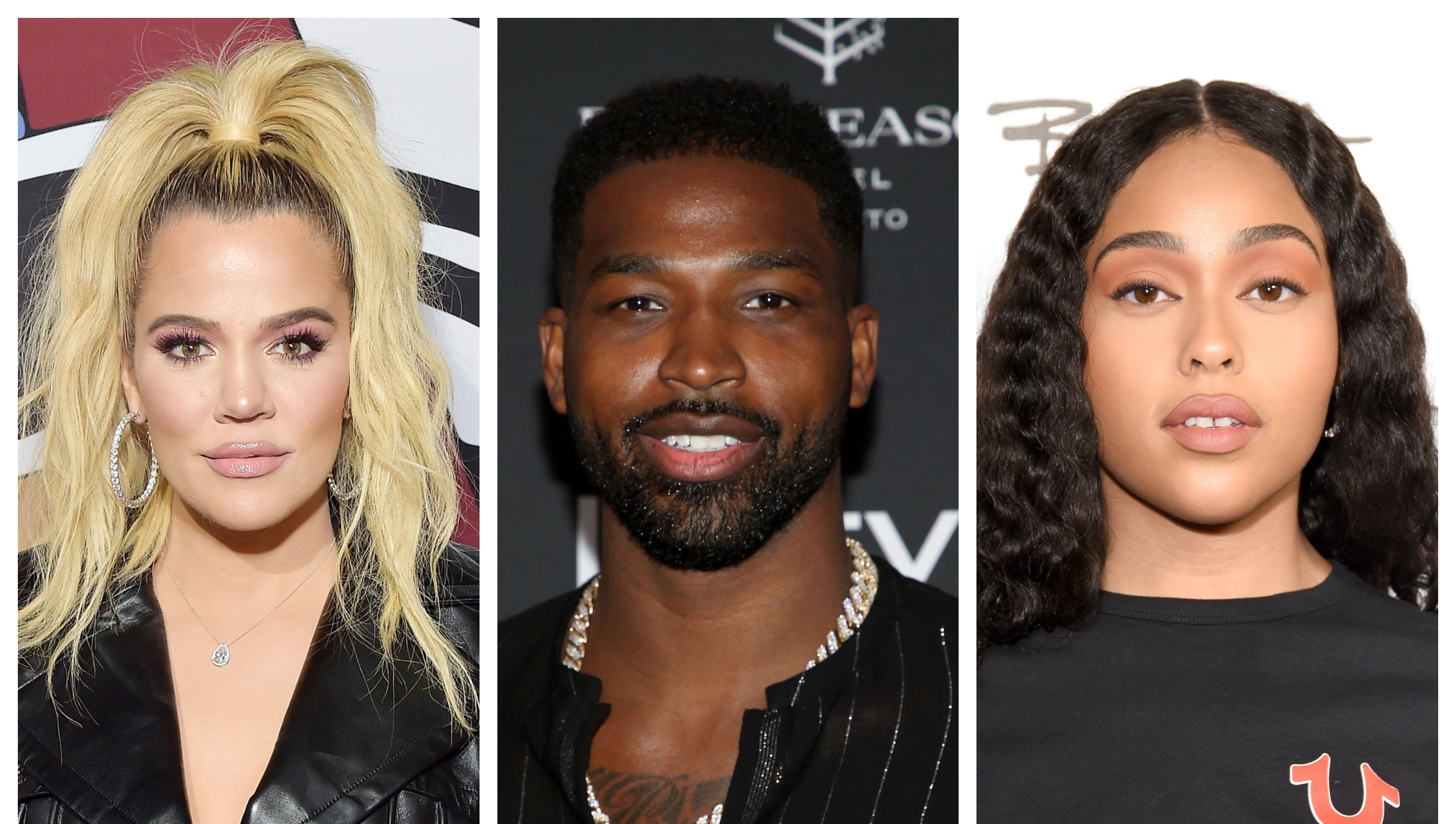 A split image of Khloe Kardashian, Tristan Thompson and Jordyn Woods