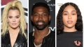 A split image of Khloe Kardashian, Tristan Thompson and Jordyn Woods