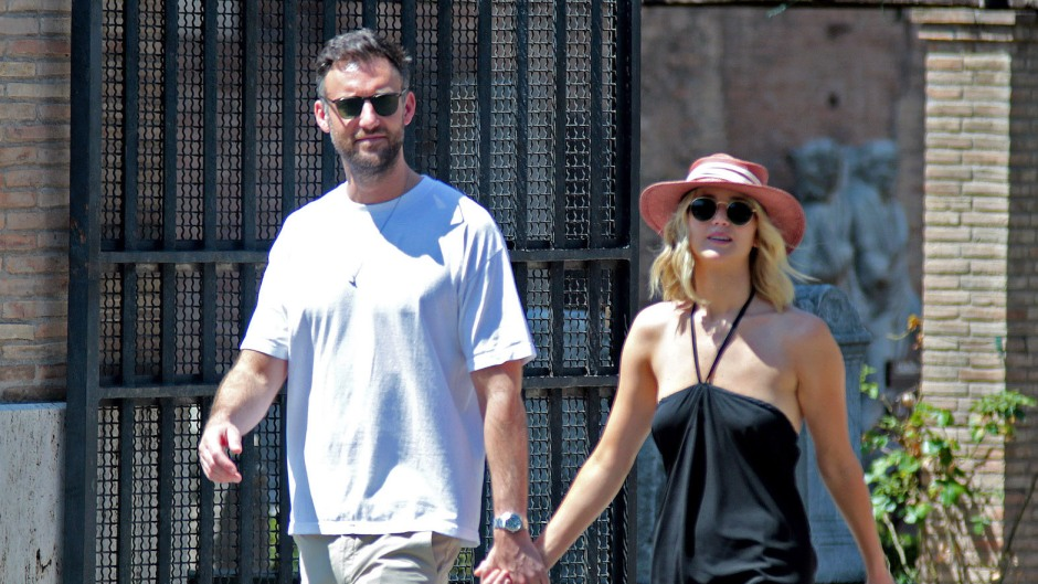 Jennifer Lawrence and Cooke Maroney holding hands