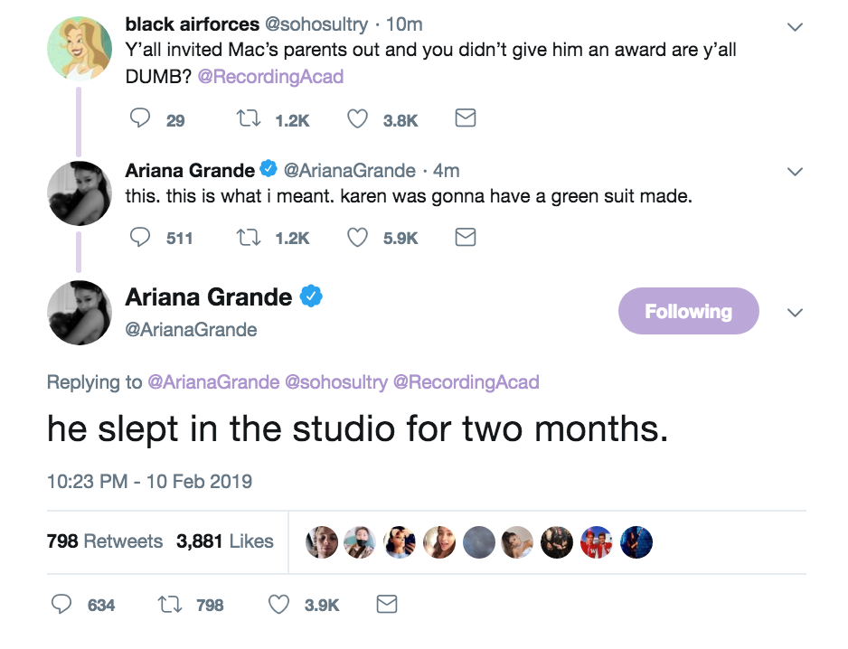 Ariana Grande tweets about mac miller grammy loss