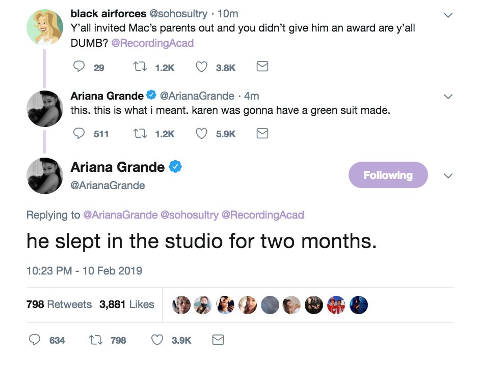 Ariana Grande tweets about mac miller grammy loss