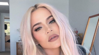 Khloe Kardashian with pink hair
