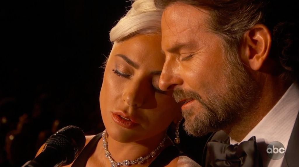 Lady Gaga and Bradley Cooper singing at the Oscars