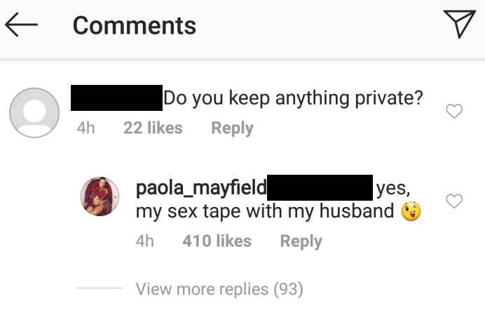 paola mayfield instagram comment