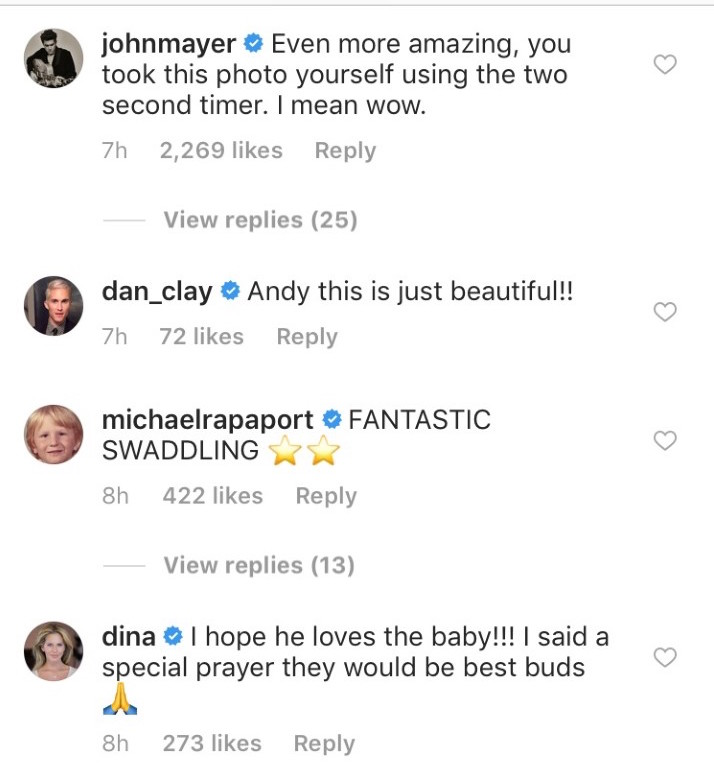 John Mayer commenting on Andy Cohen's instagram