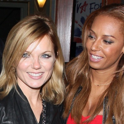 geri halliwell with mel b in a red dress