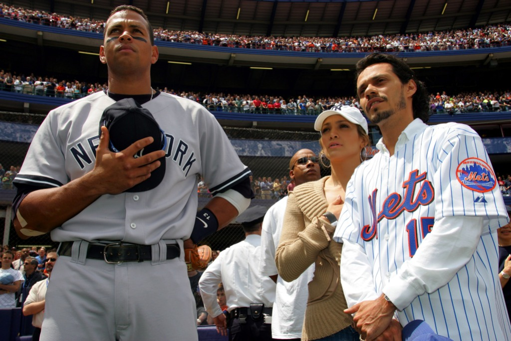 jlo arod and marc anthony at a baseball game together