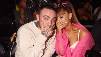 ariana grande with pink sweatshirt with mac miller
