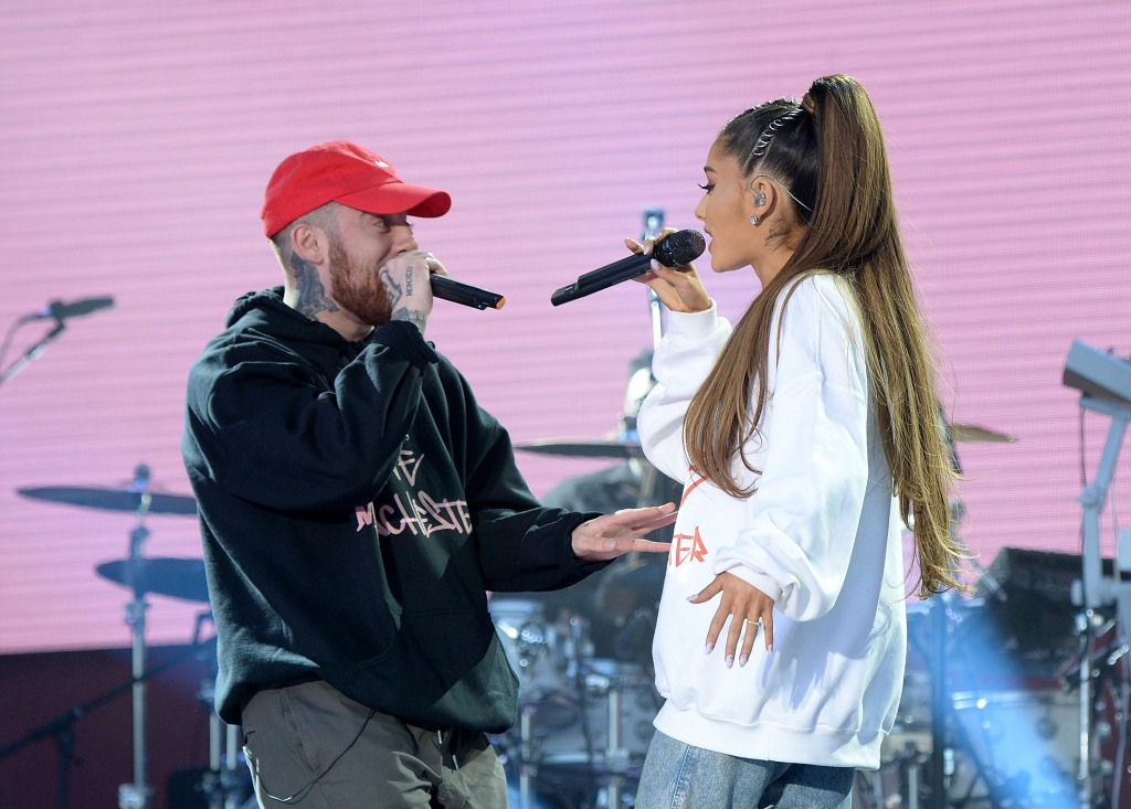 Ariana Grande with Mac Miller on stage