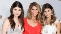 lori loughlin wearing a red dress with her 2 daughters