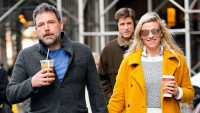 Ben Affleck holding hands with Lindsay Shookus in a yellow coat