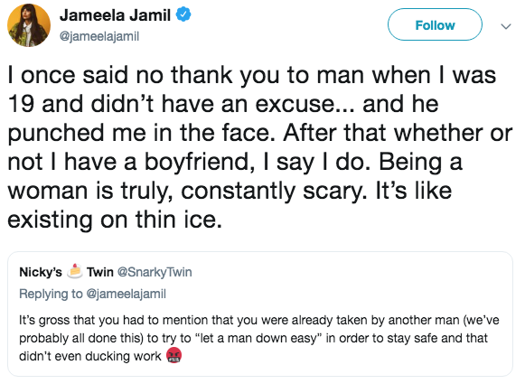 Jameela Jamil Says She Was 'Punched in the Face' After Rejecting a Man