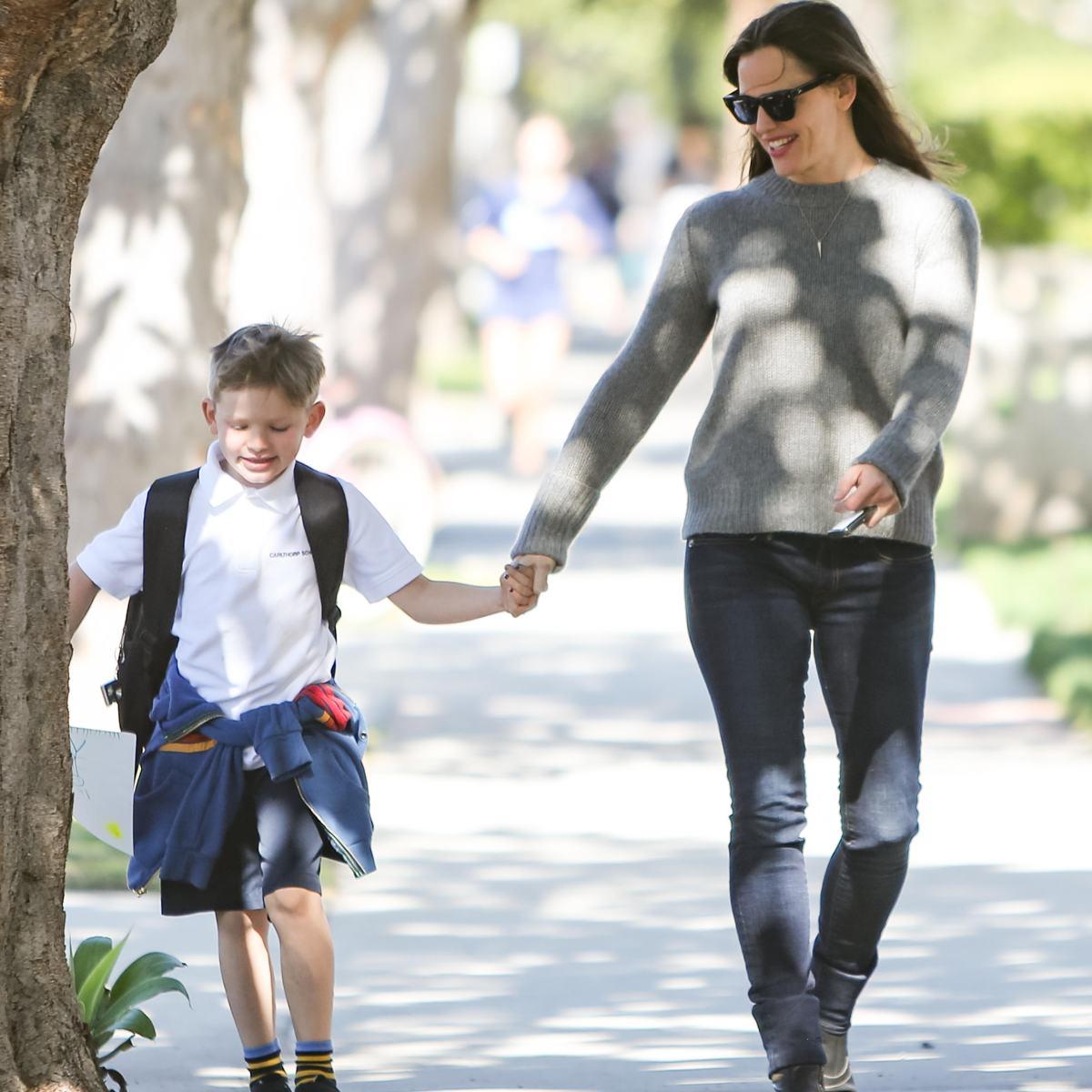 Jennifer Garner Spotted Walking With Her Son Samuel After School