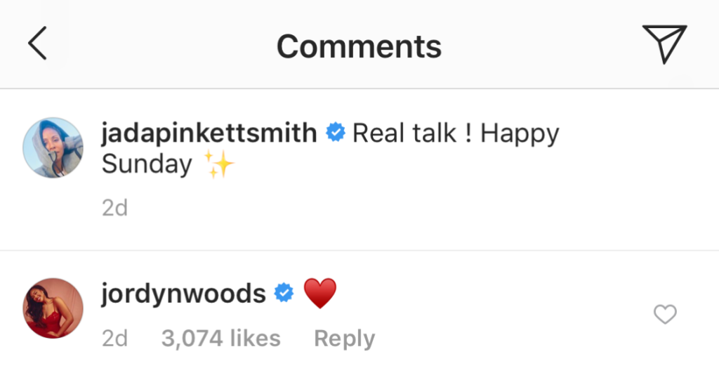 Jordyn Woods comments on true friends post