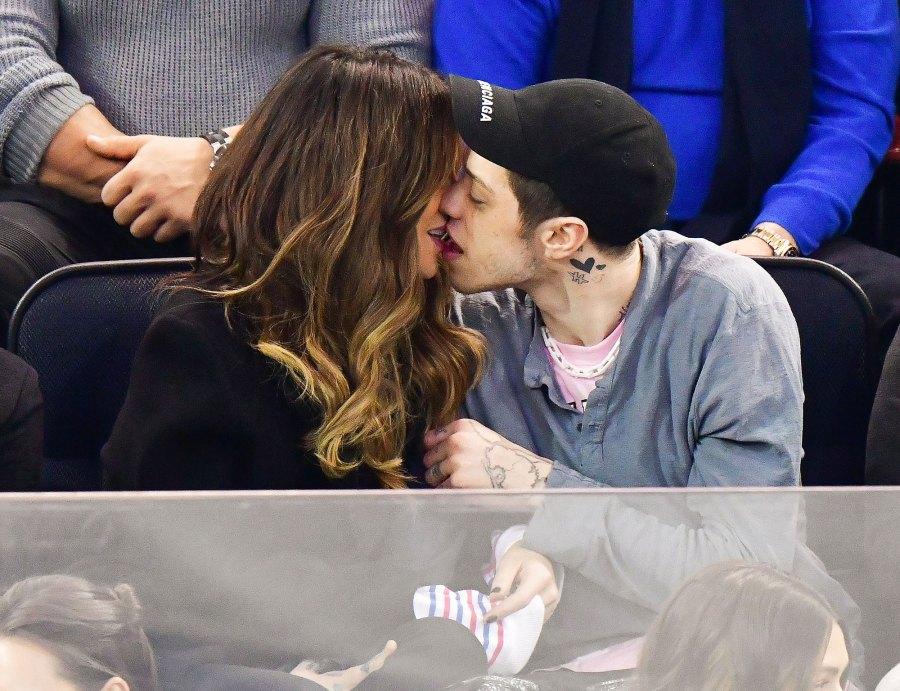 Kate Beckinsale Pete Davidson PDA Kiss New York Rangers Game