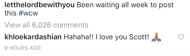 Scott Disick Instagram comment