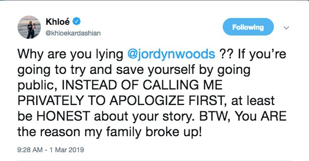 Khloe Kardashian tweet about jordyn woods red table talk interview