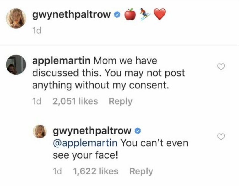 apple martin commenting on gwyneth paltrow's instagram