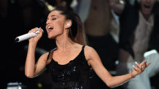 Ariana Grande singing at the 2014 iHeartRadio Music Awards.